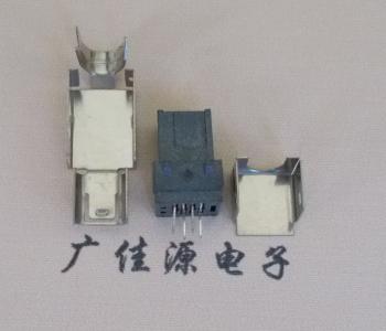 mini usb 5pin接口前两脚插板铁壳磷铜针90度